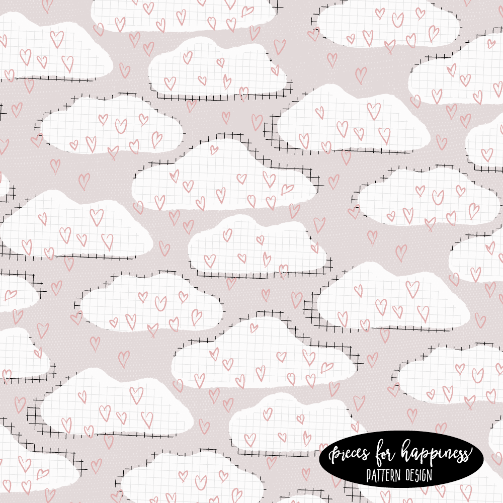 Pattern Design - Wolken mit Herz | Wolke 7 | piecesforhappiness.de